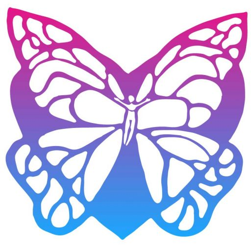 Transformational symbol aButterfly with heart shaped background and person in the center